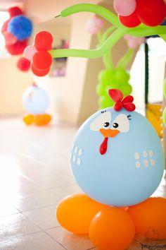 Galinha Pintadinha de Balão - Centro de mesa