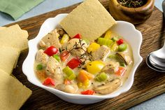 Chicken Pot Pie Soup with Pie Crust Crackers