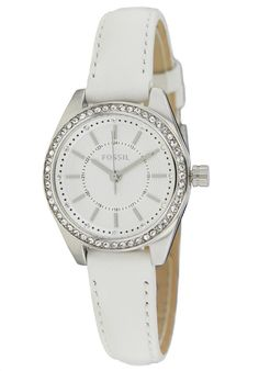 Fossil Women's White Leather Quartz Watch with Crystals BQ1449