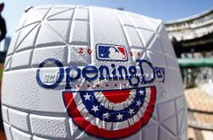 An Opening Day base is seen before the game between the Pittsburgh Pirates and the Chicago Cubs at PNC Park.
