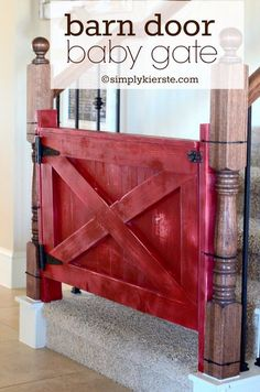 Baby Gate or good idea for opening to laundry/mud room.  Isn't that a cute idea? Barn Door Baby Gate, Diy Baby Gate, Diy Barn Door, Baby Gates, Woodworking Inspiration, Handmade Furniture, Diy Furniture, Farmhouse Style Decorating, Diy Home Improvement