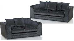 Carly Crushed Velvet Sofa Set