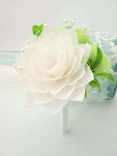 Wedding Boutonniere/Paper Flower by LandofFlowers on Etsy