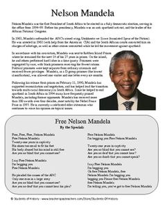 Nelson Mandela Biography WorksheetThis simple worksheet feature a very brief biography of Nelson Mandela that helps your students review his background and beliefs. I have the students read this quietly before asking questions about how they think people in the rest of the world felt about his imprisonment.