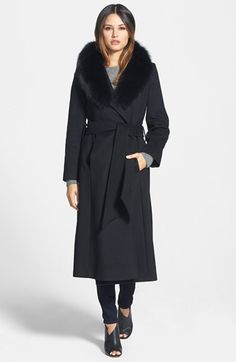 George Simonton Couture 'Hollywood' Long Wrap Coat with Genuine Fox Collar