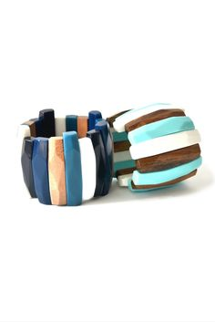 Blue and turquoise bracelets Ernesto de Barcelona | Trendy jewelry set | Bracciale, pulsera | Wooden design