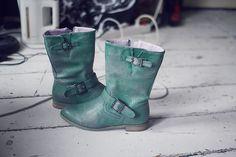 green biker boots, love them!