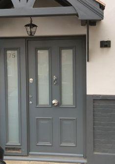 Home Security Doors London, Premium Secure Entrance Door- Cerberus Doors Victorian Front Doors, Grey Front Doors, Front Door Porch, Beautiful Front Doors, Porch Doors, Front Porch Design, Front Door Entrance, House Front Door, House Entrance