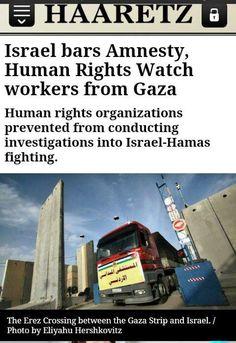 Amnesty e HRW vogliono investigare sul conflitto a #Gaza, Israele le blocca alla frontiera. AJAGAZA