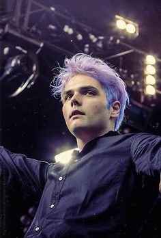 Gerard Way- My Chemical Romance. The blue purple ombré hair looks gorgeous on him. It was WAY too short lived