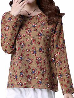 Sale 18% (22.59$) - Vintage Floral Printing Long Sleeve Loose Casual Women Blouse