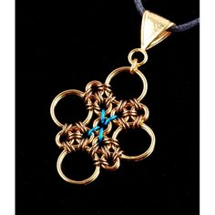 Japanese Cross (brass) | Handmade #Chainmaille Jewelry by Rebeca Mojica