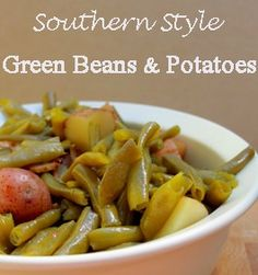 Green Beans and Potatoes  1# of fresh green beans, washed, strung and broken  3 pieces of bacon  1 chicken bouillon cube  salt and pepper  1 to 1 1/2 pounds or small red (new) potatoes