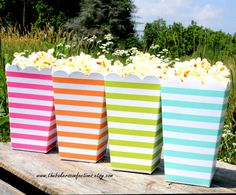 Stripe Popcorn Boxes in Pink, Orange, Lime and Aqua Bicycle Birthday Parties, Bicycle Party, Carnival Birthday, Popcorn Bar, Popcorn Boxes, Dive In Movie, Movie Party, Over The Rainbow, Shower Favors