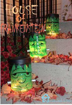 HALLOWEEN DECOR monster lighting using plastic food containers.