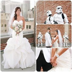 These wedding pics rock!!! For all the Star Wars fans out there - this is for you! (My little guys went nuts when they saw this!) Jennifer wore the Keaton gown by Hayley Paige and Haute Bride chandeliers and bracelet from Blush Bridal Couture in Tustin, CA. @blushbridalcouture  Keaton is also available in Los Gatos for all of you Bay Area brides #labrides #orangecountybrides #hayleypaige #hautebride #starwars #stormtroopers @starwars