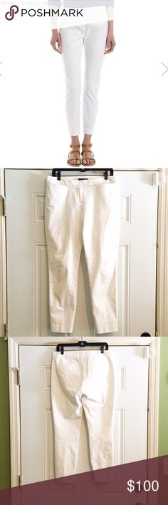 THEORY leska cigarette pants THEORY cigarette pants. Stretch cotton, cropped pants. Zip and hook closure. 7.5in rise 28in inseam 12in leg opening. True white color. Sold out at Barney's! Theory Pants Ankle & Cropped