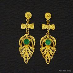 NATURAL GREEN ONYX FILIGREE 925 STERLING SILVER 22K GOLD PLATED GREEK EARRINGS #IreneGreekJewelry #DropDangle