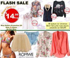 PROMOÇÃO Relâmpago #Romwe - 48 horas de ofertas Best Sellers com peças apartir de $14,99.   Super slim price flash sale!  Only 48 hours! Fashionable best sellers!  $14.99 up! Don't miss, girls!