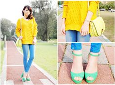 yellows and mint shoes