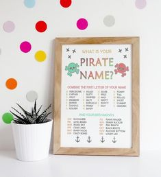 What is Your Pirate Name? / Birthday / Party / Modern / Kid / Toddler / Printable