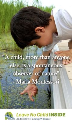 """A child, more than anyone else, is a spontaneous observer of nature"" -  Maria Montessori Mais. Quotes Nature Learning"