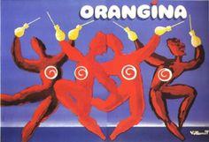 Vintage Poster. Orangina Dance - 2 Panels