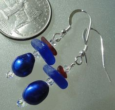 HL Sea Glass & Beach Glass Jewelry, red and blue sea glass earrings adorned with freshwater pearls.