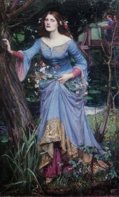 Ophelia - John William Waterhouse, 1905, perhaps a favorite bc it goes against the in the water type favored by artists