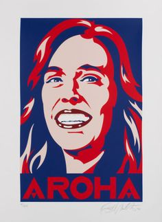 """Buy a limited edition signed screenprint of """"Aroha"""" direct from Aotearoa's art print specialists, NZ Fine Prints. """"Aroha"""" was created by New Zealand artists Weston Frizzell during Ardern's pandemic response which has won plaudits from around the world. Important People, Cool Posters, Popular Culture, Limited Edition Prints, Prints For Sale, A Team, Google Images, Screen Printing, Fine Art"""