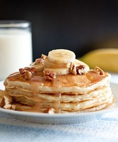 Banana Bread Pancakes with Cinnamon Cream Cheese Syrup - these are so good!