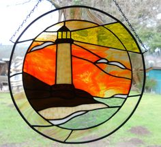 Round 13 inch Stained Glass Earthtone Lighthouse Panel New