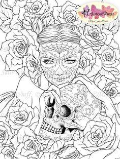 Digitale Stempel - Sugar Skull Tag von den Toten Catrina - Digistamp - Las Calaveras - Fantasy Linie Kunst für Karten Kunsthandwerk 2971