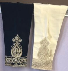 Pakistani cigarette pants silk ideal for Agha noor shirts and fancy tunics Simple Kurta Designs, Beautiful Suit, Dress Neck Designs, Pakistani Designers, Embroidered Silk, Fashion Pants, How To Look Pretty, Floral Tie, Pants For Women