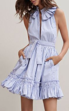 clothing design on sale at reasonable prices, buy Blue Stripe Ruffle Trim Slit Front Sleeveless Skater Dress Women Sleeveless Stand Neck Tied Waist Novelty Design Casual Clothing from mobile site on Aliexpress Now! Fashion 2017, Look Fashion, Spring Fashion, Womens Fashion, Fashion Design, Latest Fashion, Petite Fashion, Curvy Fashion, 80s Fashion