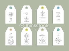 Vector Art : Collection of 8 Hang Tags. Trendy geometric patterns and colors.