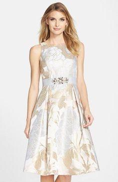 Eliza+J+Embellished+Jacquard+Fit+&+Flare+Dress+available+at+#Nordstrom: