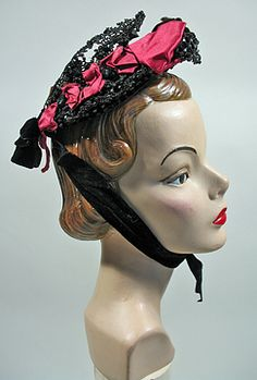 1880s - 90s Antique Victorian Era Beaded Wire Bonnet in Red and Black