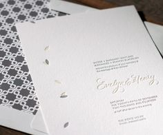 Pretty nature meets modern letterpress wedding invitations with Ville-Marie, a fresh and sweet design from Ian Koenig.