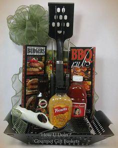 BBQ Lovers Gift Basket ~ Grill Tools, Cookbook, Rubs, Sauces, Lighter, Grill Basket