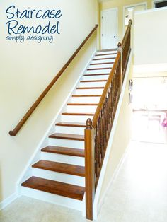 Staircase Remodel | step by step instructions on how to rip up carpet and refinish wood stairs, including all the mistakes we made along the way | Simply Designing |