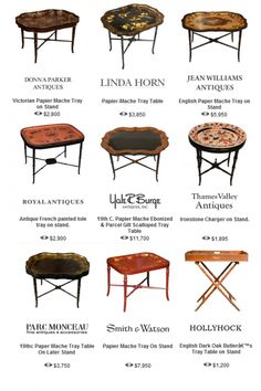Bamboo Hand Painted Tea Tole Tables