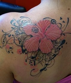 flowers swirls tattoo delicate beautiful girlie inspiration idea tribal lily orchid shoulder female