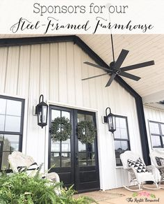 Amy's 52 White Modern Farmhouse Cottage Playhouse Hack – Farmhouse Room Tips on Dealing with Slugs a Modern Farmhouse Design, Modern Farmhouse Exterior, Country Farmhouse Decor, Cottage Farmhouse, Modern Porch, Country Modern Home, Modern Farmhouse Lighting, Farmhouse Windows, Farmhouse Interior