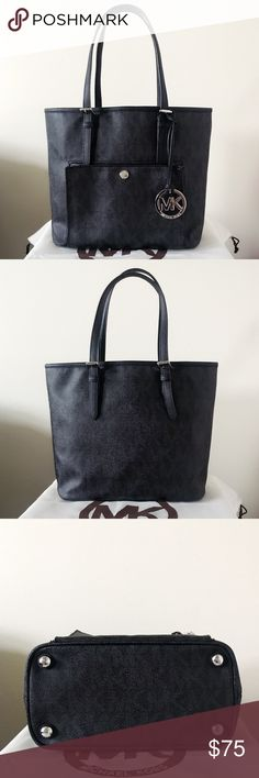Michael Kors Snap Pocket Tote Such a cute purse. Black and gray signature with silver detailing. Lightly used. Authentic.  The tote shows light wear on the hardware. Please see pictures for detail. Overall in good condition.   Measurement: 12*9.5*5 inch  Dust bag is included Michael Kors Bags Totes