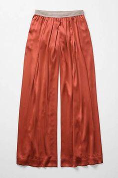 Anthropologie Sienna Loungers Lounge Silk Pants Wide-Legs Size L, Eloise
