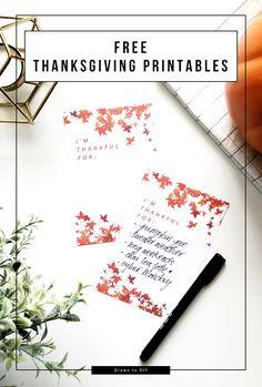 Free Thanksgiving Printables @DrawntoDIY