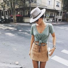 transition into fall with suede. love this outfit for an early fall look