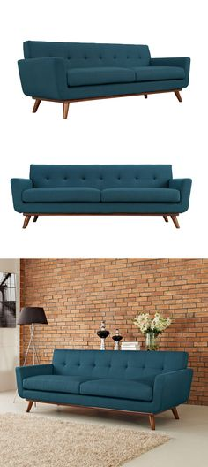 Form and comfort meet mid-century modern design and luxurious styling. A button-tufted back and removable seat cushion are supported by rubber wood legs and frame, making this sofa a cozy perch for any space. #couch #sofa #modern #homedecor #blue