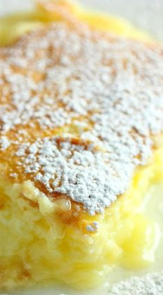 Add a new dessert option for your holiday dinners this year. Try this lite and moist Lemon Pudding Cake. Its a moist cake at the top and a pudding layer on the bottom. Lemon Desserts, Lemon Recipes, Just Desserts, Delicious Desserts, Cake Recipes, Lemon Pudding Recipes, Pudding Desserts, Lemon Pudding Cake, No Sugar Foods